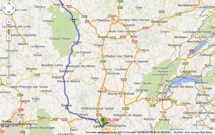 itineraire Avallon Lyon