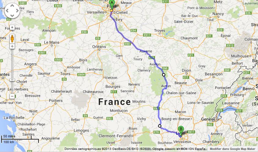 itineraire Paris Lyon