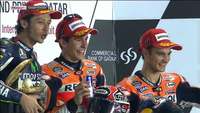 Marquez, Rossi et Pedrosa sur le podium du motogp du Qatar 2014 !