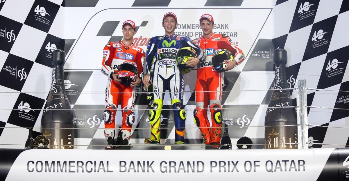 Le podium du MotoGP 2015 du Quatar