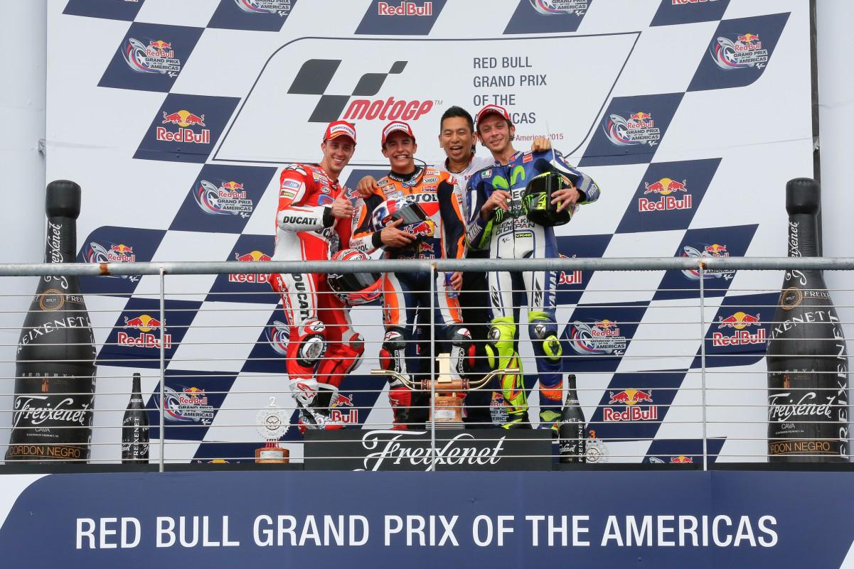 Le podium du motogp d'Austin 2015