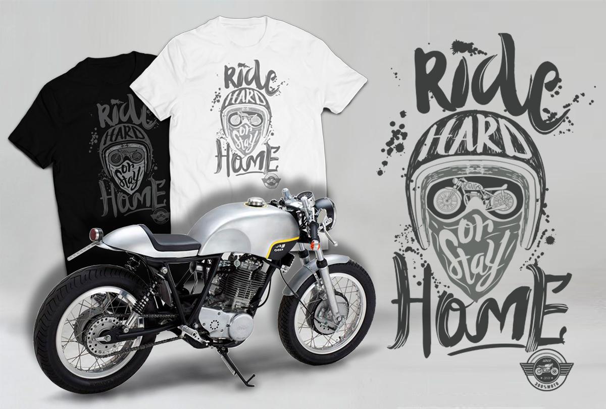 Ride hard t-shirt moto